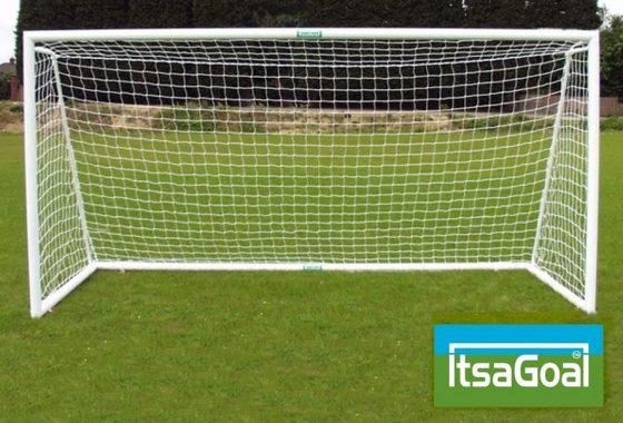 Folding Garden Goal 12×4 Aluminium Lightweight Goalposts With Ground Back Bar