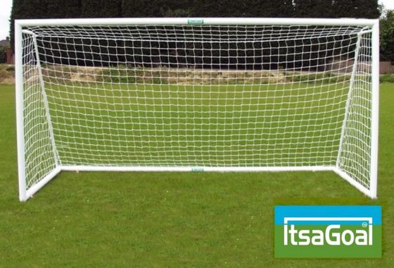 Folding Garden Goal 12×4 Aluminium Lightweight Goalposts With Ground Back Bar