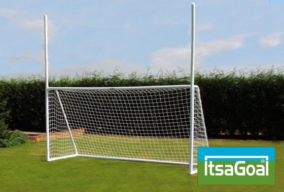 Rugby Gaelic Football Goalposts 12×6 Two Section UPVC Posts With 2.4M Top Posts